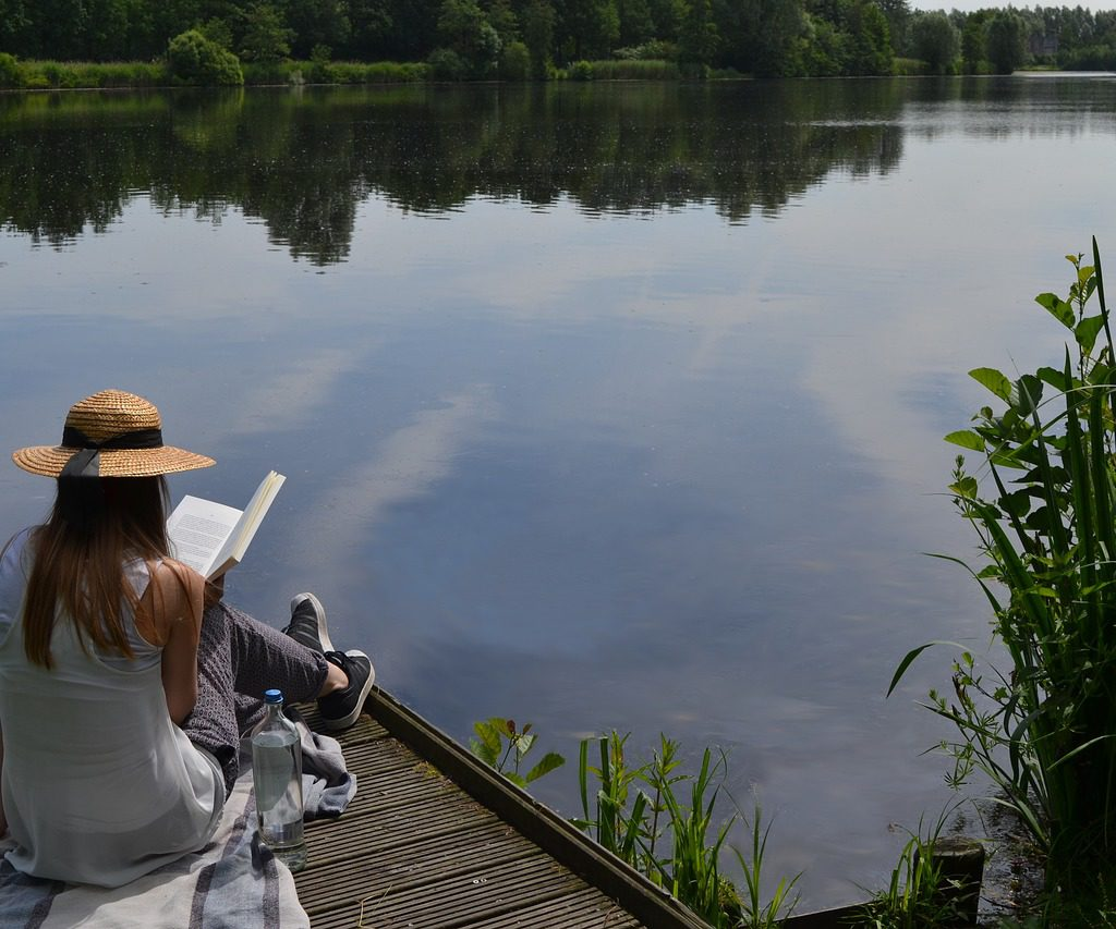 reading, lake, summer